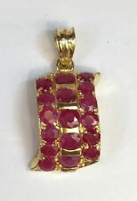 14k Solid Yellow Gold Cute Three Row Cluster Pendant, Natural Ruby 2.5TCW