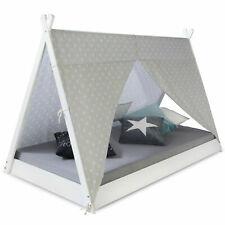Kinderbett TIPI 90x200cm Indianer Haus Zelt Stoff Sterne Holz massiv Homestyle4u