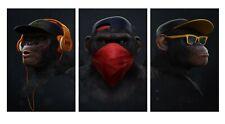 Cool Monkeys -  Headphones Thug Bandana  Large Canvas 3 Split Panels 20x30inch