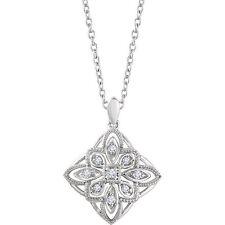 Diamante granulado filigrana 45.7cm Collar en 14k ORO BLANCO (1 / 10ct. TW