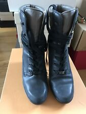 Tod's Ankle Lace Boots Matt Leather Heels Size 36.5 With Box Excellent Condition