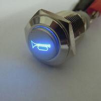 16mm 12V LED tastender Knopf Metallschalter Auto Blau Lautsprecher Bell Horn
