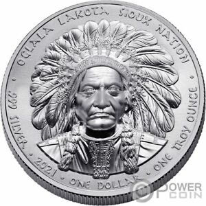 SITTING BULL 1 Oz Silver Coin 1$ Sioux Nation 2021