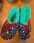 Snoozies Slippers Christmas Lights Prints kids size Large 4/5 Ugly Sweater