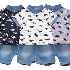 Toddler Kids Baby Boy Dinosaur T Shirt Tops+Denim Shorts Cute Pants Clothes Sets