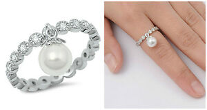 Sterling Silver 925 ROUND ETERNITY CLEAR CZ RING W/ DANGLE PEARL 3MM SIZES 4-10
