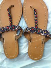 Jeweled Beaded  Leather Flat  Sandals size 39  (8.5) never worn