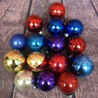 VTG Round Glass Ornaments Small Christmas Bulbs Baubles Red Blue Gold Purple