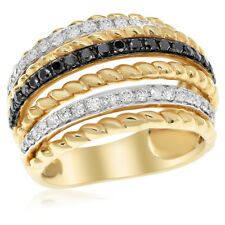 Wide Band Cocktail Right Hand Ring 18K Yellow Gold Braided Black White Diamond