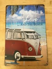 Love Beach Camper retro workshop man cave vintage metal sign garage