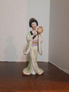 """SEIZAN CP Fine Art Bisque Porcelain 9"""" Japanese Geisha Figurine W/Drum"""
