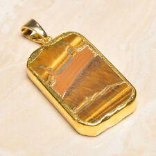 "Handmade Natural Golden Tiger's Eye Gemstone Pendant 2"" #P17295"
