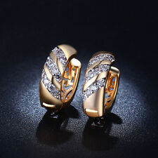 Unisex Rose Gold Plated Rhinestone Cabinet Hoop Earrings Clip Women Gift
