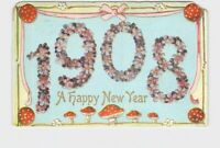 PPC POSTCARD NEW YEARS 1908 FORGET ME NOT RED TOPPED MUSHROOMS PINK RIBBON EMBOS
