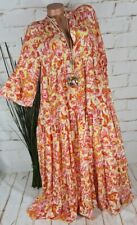 Neu Italy Boho Bohemian Maxi Kleid Stufenkleid gemustert M1 38 40 42