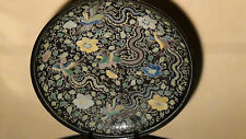 ANTIQUE CHINESE FAMILLE NOIR/VERTE HAND ENAMELED PORCELAIN PHOENIX PLATE/CHARGER
