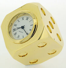 Novelty Miniature Corner Dice Clock in Gold Tone on Solid Brass