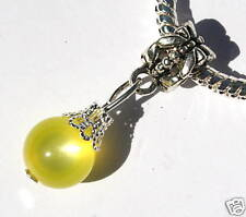 Yellow Cat's Eye & Tibetan Silver Crystal Drop Charm Bead for Bracelet