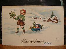 cpa illustrateur fantaisie enfant fillette landau poupee gui fer a cheval neige