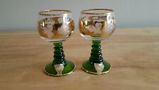 VINTAGE PAIR OF BOCKLING NEUDENAU GOLD ECHED BOHEMIA GOBLETS LUXEMBOURG / M MARK
