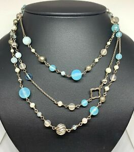 "David Yurman 50"" Aquamarine, Pearl, Topaz, Chalcedony Sterling Silver Necklace"