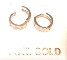 14k Pure Yellow Gold Princess Cut CZ Baby Huggies Earrings/Stamped & Guaranteed