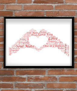 Personalised Hand Heart Word Art Gift   Personalised Mothers Day Gift, Mum Gift