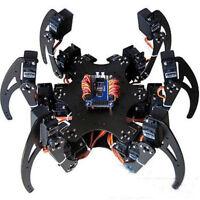 Black Six Legs Alloy Servo 3DOF Hexapod Spider Robot Frame Kit DIY for Arduino