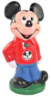 """Disney Mickey Mouse Piggy Bank Play Pal Hard Plastic 12"""" Tall NO Stopper"""