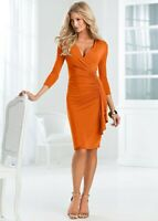 Venus Sz XS Faux Wrap Side Ruffle Ruched V Neck Slinky Sheath Dress Burnt Orange