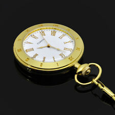 Luxury Gold Open Face Type Mens Quartz Pocket Watch include Battery