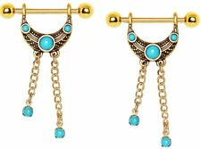 Tribal Nipple Shield Sold as pai Nipple Ring Bars Gold Plated Turquoise Accented