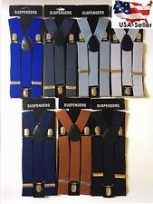 Wide Suspenders For Mens Suspenders Adjustable Clip-On Y-Back Heavy Duty Black