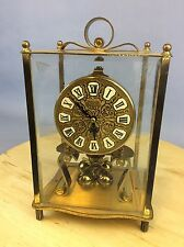 "Kundo  9"" Gold Square Brass And Glass Clock Ship Worldwide"