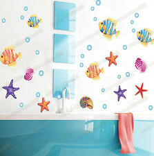 Tropical Fish Starfish Sea Shells Vinyl Wall Stickers Bathroom Kids Room Decal