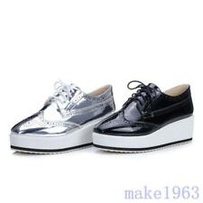 Womens Wing Tip Brogue Shoes Strappy Flat Leisure Shoes Platform Silver All Size