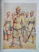 Antiquarian Indian Army Print (1911) 33rd Punjabis Subadar - Major A C Lovett