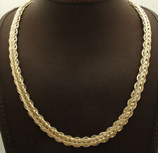 """20"""" 9mm Wide All Shiny Mirror Wheat Chain Necklace Real 14K Yellow Gold HSN"""