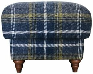 BRAND NEW Heart of House Argyll Fabric Storage Footstool - Blue/Yellow Check