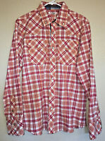 True Religion Men's Large Red Plaid Western Long Sleeve Pearl Snap Shirt EUC