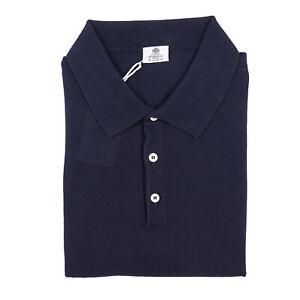 Borrelli Napoli Navy Blue Knit Extrafine Cotton Polo Shirt 3XL (Eu 58) NWT $450