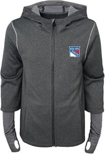 NHL Outerstuff New York Rangers Youth Girls Off The Grid Full Zip Hoodie Jacket