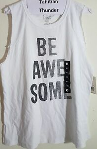 2x Billabong BE AWESOME White Tank Top Shirt Adult Medium NEW with tags
