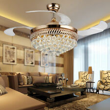 New Crystal Remote Control LED Retractable Ceiling Fan Light Chandelier Lighting