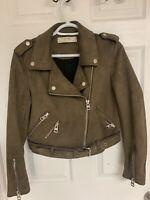 Zara Basic Outerwear Brown Olive Faux Suede Biker Jacket Medium
