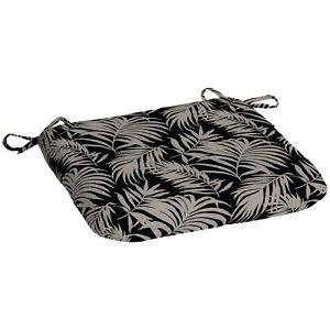 """Black Tan Tropical Palm Print 17"""" x 15.5"""" Outdoor Seat Pad Chair Cushion Patio"""