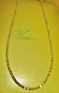 """VERONESE 24"""" LONG POPCORN LINK NECKLACE CHAIN 18CT GOLD OVER STERLING SILVER QVC"""