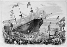 """Bremerhaven, Taufe der """"Helvetia"""" auf der Werft von Tecklenborg Holzstich 1858"""