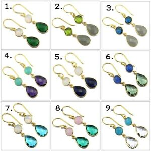 Pear Round Multi-Color Hydro Quartz Chalcedony Gold Plated Handmade Earring