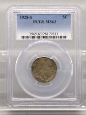 1928 S 5C Buffalo Nickel PCGS MS63